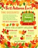 Autumn fall maple leaf acorn vector sale poster Royalty Free Stock Photos