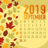 Autumn/fall months calendar 2019 template. With abstract falling leaves Royalty Free Stock Photo