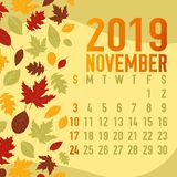 Autumn/fall months calendar 2019 template. With abstract falling leaves Royalty Free Stock Images