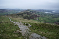 Autumn Fall morning landscape across Mam Tor ridge in Peak Distr Royalty Free Stock Images