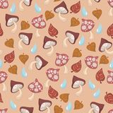 Autumn fall mushroom leaf raindrop seamless pattern. Vector illustration on peachy orange background Stock Photo