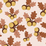 Autumn/fall oak leaves and acorns seamless pattern Royalty Free Stock Photos