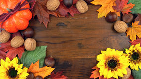 Autumn Fall overhead. With seasonal fruit and nuts on a rustic wood background, with room for your text here Royalty Free Stock Photography