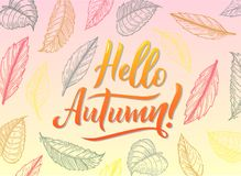 Calligraphy art poster/banner `Hello autumn` on a white background. Autumn / fall poster, banner, print, greeting card, invitation template. Hand lettered vector illustration
