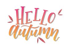 Calligraphy art poster/banner `Hello autumn` on a white background. Autumn / fall poster, banner, print, greeting card, invitation template. Hand lettered royalty free illustration