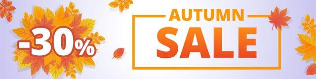 Autumn fall sale banner horizontal, cartoon style stock illustration