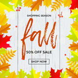 Autumn fall sale banner shopping discount vector poster maple leaf. Fall sale banner background with abstract autumnal maple leaf pattern. Vector calligraphy Royalty Free Stock Photography