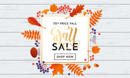 Autumn fall sale banner shopping discount vector poster maple leaf. Fall sale banner background with abstract autumnal maple leaf pattern. Vector golden Royalty Free Stock Image