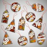 Autumn fall sale cardboard tags. Royalty Free Stock Photography