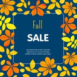 Autumn fall sale concept background, flat style stock illustration