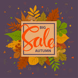Autumn fall sale frame banner background. Big autumn fall sale frame banner background with colorful forest leaves on a geometric simple shapes texture Stock Photo