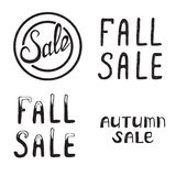 Autumn and Fall Sale. Autumn and Fall Sale label poster. Hand drawn modern grunge lettering. typographic design Royalty Free Stock Photo