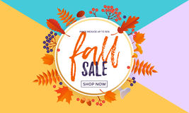 Autumn fall sale maple leaf poster autumnal shopping promo discount banner   Stock Photography