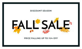 Autumn fall sale maple leaf poster autumnal shopping promo discount banner online store. Fall sale poster or autumnal shopping promo banner of autumn maple leaf Stock Photography