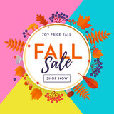 Autumn fall sale poster discount for September shopping promo vector autumnal shop Royalty Free Stock Image