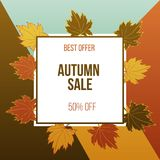 Autumn fall sale poster with maple leaves. Vector illustration Stock Photography