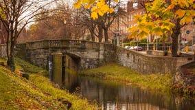 Autumn / Fall scene in Dublin, Ireland. Beautiful autumnal colors and old stone bridge