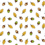 Autumn fall seamless pattern background illustration with acorns and leaves Royalty Free Stock Photo