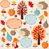 Autumn fall seamless pattern with fruit, hedgehogs,trees Royalty Free Stock Photo