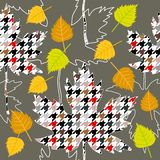 Autumn fall. Seamless vector pattern with white birch and maple leaves. 1950s-1960s motifs. Retro textile collection. On purple background Vector Illustration
