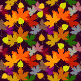 Autumn fall. Seamless vector pattern with white birch and maple leaves. 1950s-1960s motifs. Retro textile collection. On purple background Stock Photo