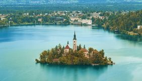 Autumn or fall season in Bled lake. Slovenia royalty free stock photos