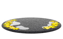 Autumn fall season sale concept. Stand (podium) with empty place. Autumn fall season (sale, advertising, shopping concept). Wet asphalt with puddles and yellow Royalty Free Stock Image