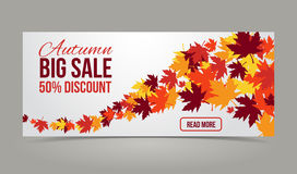 Autumn, fall season vector banner with yellow leaves Stock Photography