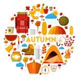 Autumn Fall Seasonal Icons Set com tempo chuvoso e equipamento de acampamento ilustração do vetor