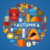 Autumn Fall Seasonal Icons Set con tempo piovoso ed attrezzatura di campeggio Fotografia Stock