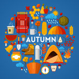 Autumn Fall Seasonal Icons Set with Rainy Weather and Camping Equipment Stock Photography
