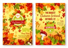 Autumn of fall seasonal sale and discount promo Royalty Free Stock Photos