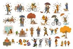 Autumn fall thanksgiving Halloween people outdoor and at home cartoon vector illustration set stock illustration