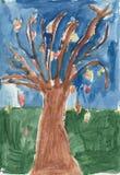 Autumn or Fall Tree Watercolor Children`s Artwork