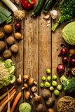 Autumn fall vegetables on vintage wooden background stock image