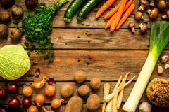 Autumn fall vegetables on vintage wooden background royalty free stock images