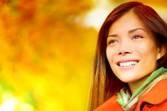 Autumn / Fall woman in colorful foliage Stock Images
