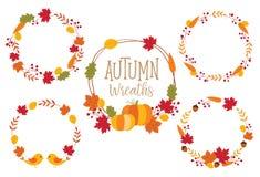Autumn Fall Wreath Frame Set-Vektor-Illustration