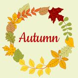Autumn fallen colorful leaves frame Royalty Free Stock Photography