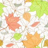 Autumn Fallen Leaves Hand Drawn Pattern Royalty Free Stock Photo