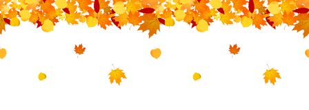 Autumn falling leaves seamless header for websites and decor. vector illustration
