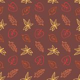 Autumn falling leaves seamless vector pattern stock illustration