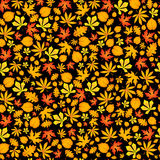 Autumn falling maple and oak leaves, seamless pattern on black background. Stock Photo