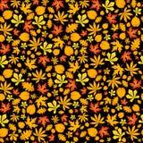 Autumn falling maple and oak leaves, seamless pattern on black background. Autumn falling maple and oak leaves, seamless pattern on black background Stock Photo
