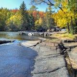 Autumn falls square. Strong Falls in Marinette County waterfall on famous Peshtigo River near goodman wisconsin in autumn Fall royalty free stock image