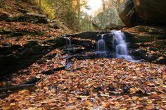 Autumn falls. Waterfall with autumn colors surrounded Royalty Free Stock Photo