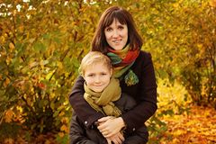 Autumn Family. Loving Mother and Son Stock Photo