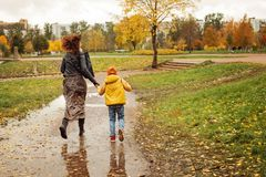 Autumn Family. Mother and Son having Fun Stock Photo