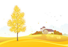 Autumn farm background. Illustration of a fall farm scene on a white background Royalty Free Stock Images