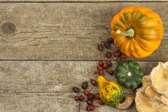 Autumn farm decoration. Harvest pumpkins. Autumn background corner frame with pumpkins and leaves. Royalty Free Stock Photography